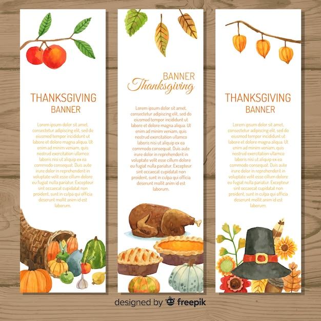 Happy thanksgiving watercolor banner set Free Vector