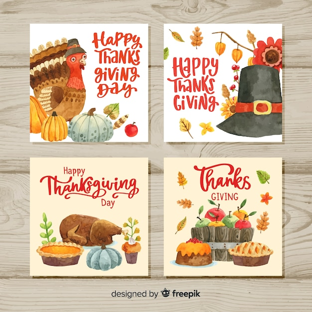 Happy thanksgiving watercolor card collection Free Vector