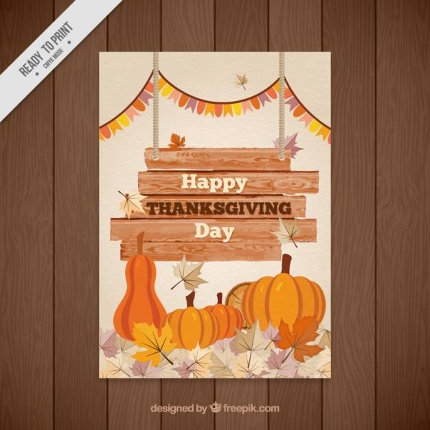 Happy thanksgiving watercolor flyer Free Vector