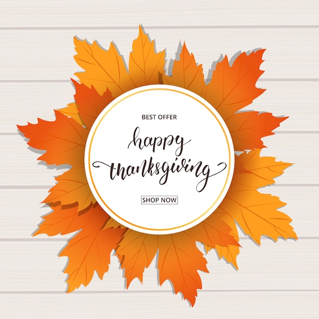 Happy thanksgiving with autumn leaves card Premium Vector