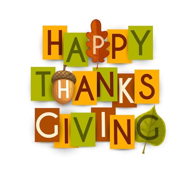 참나무와 자작 나무, 도토리의 단풍과 함께 즐거운 추수 감사절. 감사하는 날 휴일 인사말 흰색 배경에 고립 된 다채로운 종이 직사각형 카드에 타이포그래피 편지 프리미엄 벡터