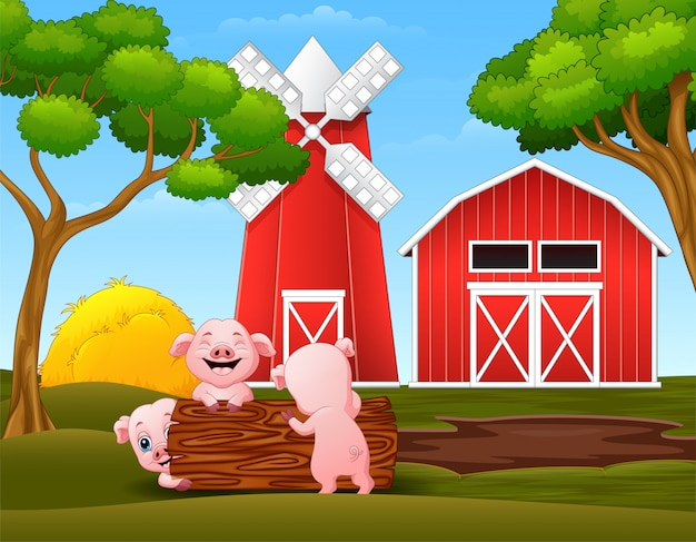 Happy three little pig playing logs in the farm Premium Vector