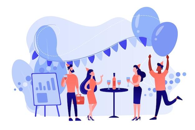 Счастливые крошечные деловые люди танцуют, веселятся и пьют вино. корпоративная вечеринка, тимбилдинг, концепция идеи корпоративного мероприятия. розовый коралловый синий вектор изолированных иллюстрация Бесплатные векторы