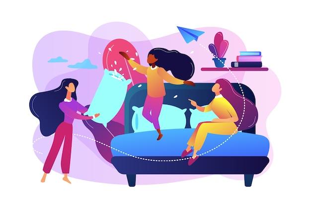 Счастливые крошечные люди девушки-подростки драка подушками в спальне на вечеринке. пижамная вечеринка, ночевка для друзей, концепция вечеринки по ночам. Бесплатные векторы