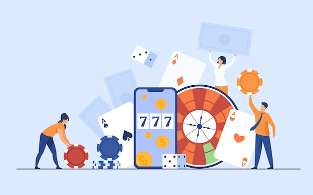 Happy tiny people gambling in online casino Free Vector