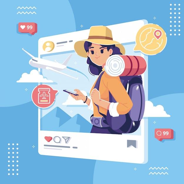 Счастливый день туризма иллюстрации концепции социальных сетей Premium векторы
