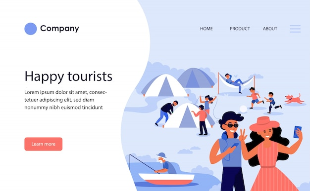 Happy tourists camping. website template or landing page Free Vector