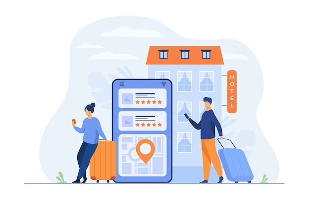 Happy tourists choosing hotel and booking room online flat illustration. Free Vector