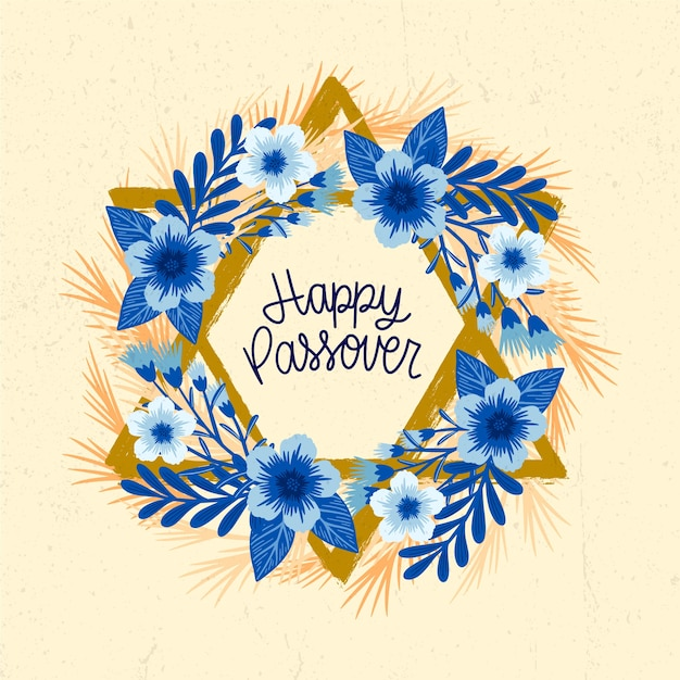 Happy traditional jewish passover event hand drawn Free Vector