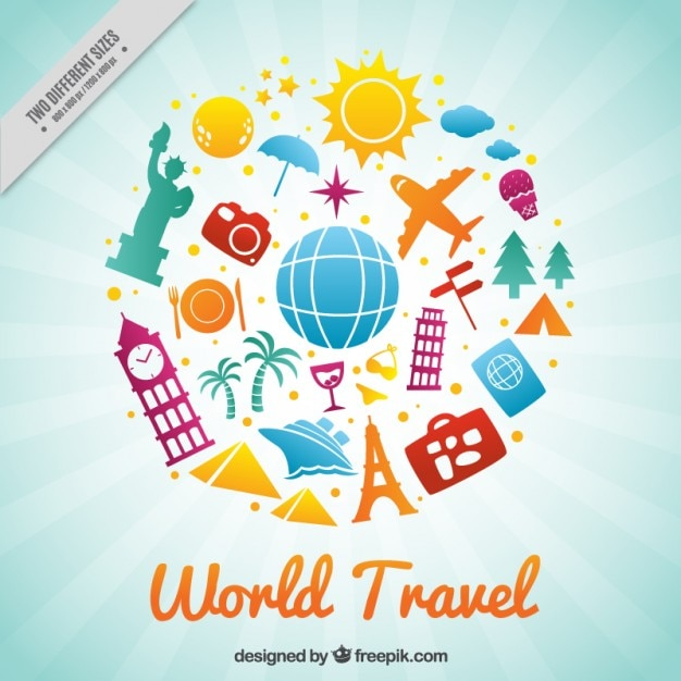 Happy travel around the world vector free download for All inclusive around the world trip