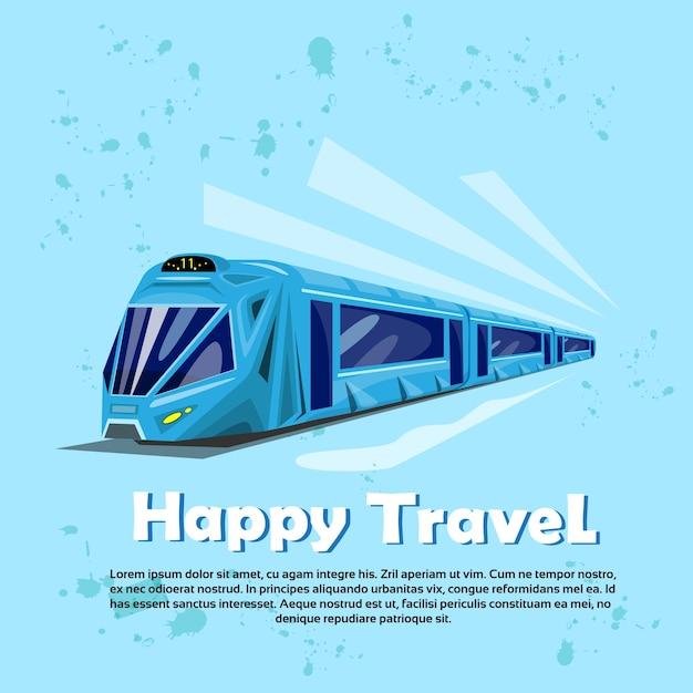 Happy travel banner modern train transportation tourism Premium Vector