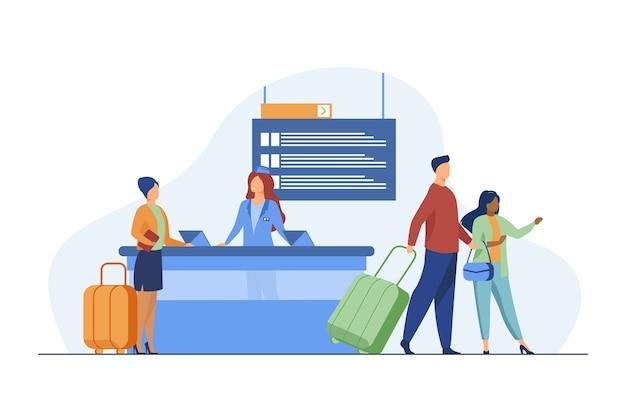 Счастливые путешественники проходят регистрацию на рейс. поездка, багаж, багаж плоский векторные иллюстрации. путешествие и отдых Бесплатные векторы