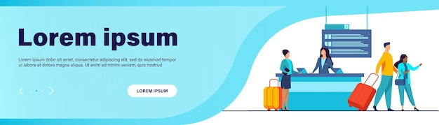 フライト登録カウンターを通過する幸せな旅行者。旅行、手荷物、荷物フラットベクトルイラスト 無料ベクター