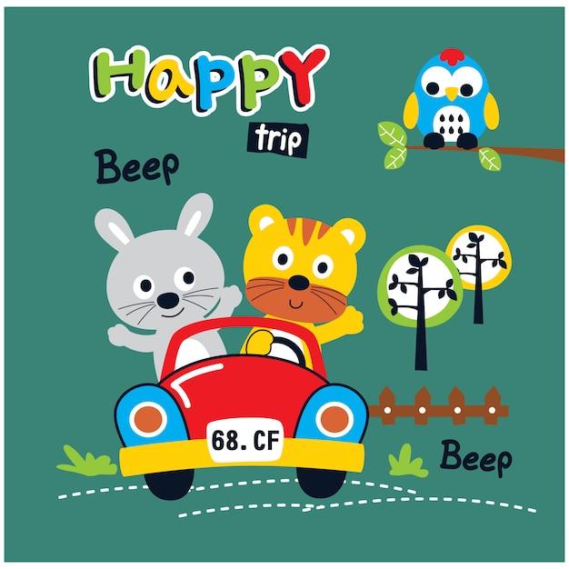 Happy trip rabbit and cat funny animal cartoon, vector illustration Premium Vector