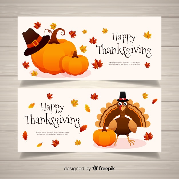 Happy turkey thanksgiving day banner set Free Vector