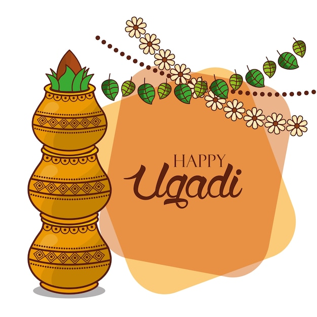 Happy ugadi card floral garland kalash decorative vector premium happy ugadi card floral garland kalash decorative premium vector m4hsunfo