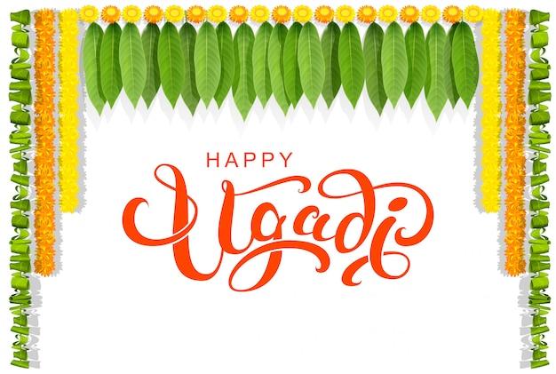 Happy ugadi floral leaf garland text greeting card Premium Vector