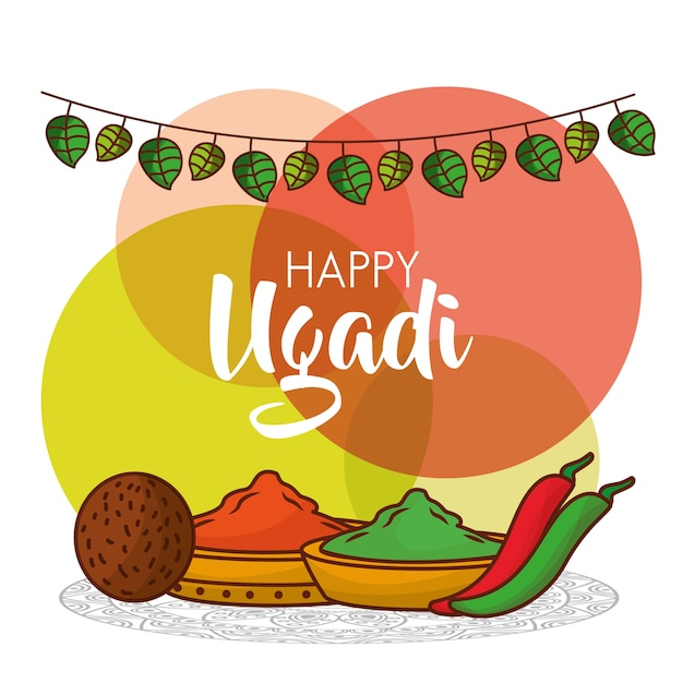 Happy ugadi greeting card with decorative spices vector premium happy ugadi greeting card with decorative spices premium vector m4hsunfo Image collections