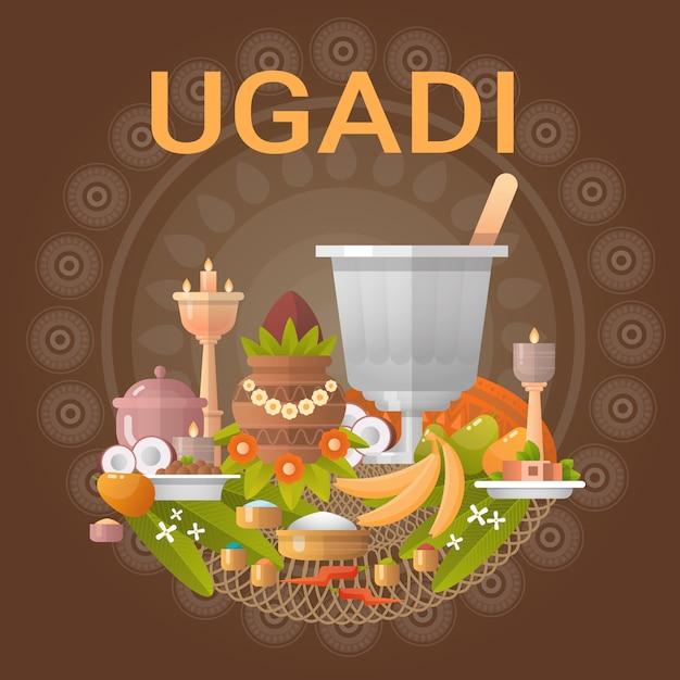 Happy ugadi и gudi padwa индуистская новогодняя открытка Premium векторы