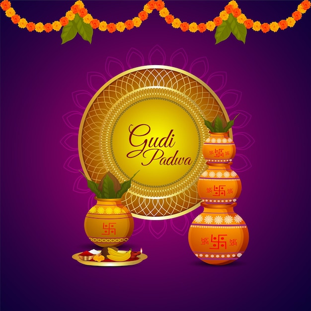 Happy ugadi. template greeting card traditional festival Premium Vector