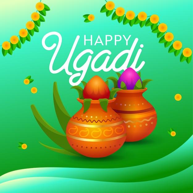 ハッピーウガンディホリデータイポグラフィバナー。インドの新年とカイトラのヒンドゥー太陰太陽暦月の初日。ヒンズー教徒の重要な祭り。フラット漫画ベクトルイラスト Premiumベクター