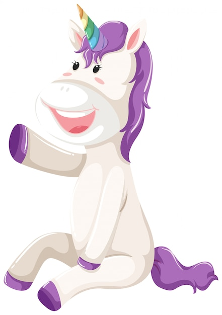 A happy unicorn character Free Vector