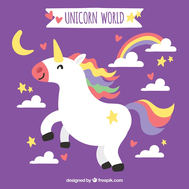 Happy unicorn purple background with clouds and rainbow