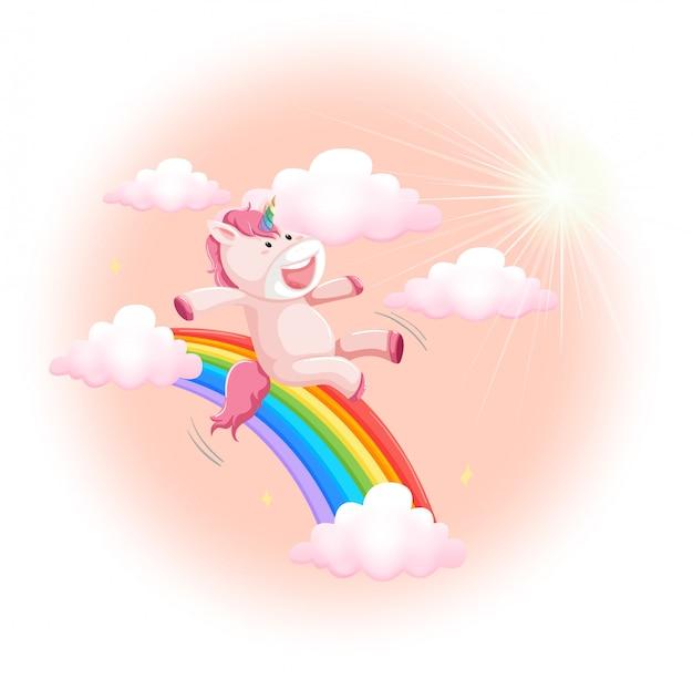 Happy unicorn on sky Free Vector