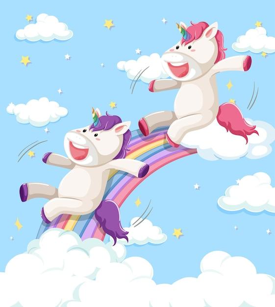 Happy unicorn sliding on rainbow with pastel rainbow isolated on white background Free Vector