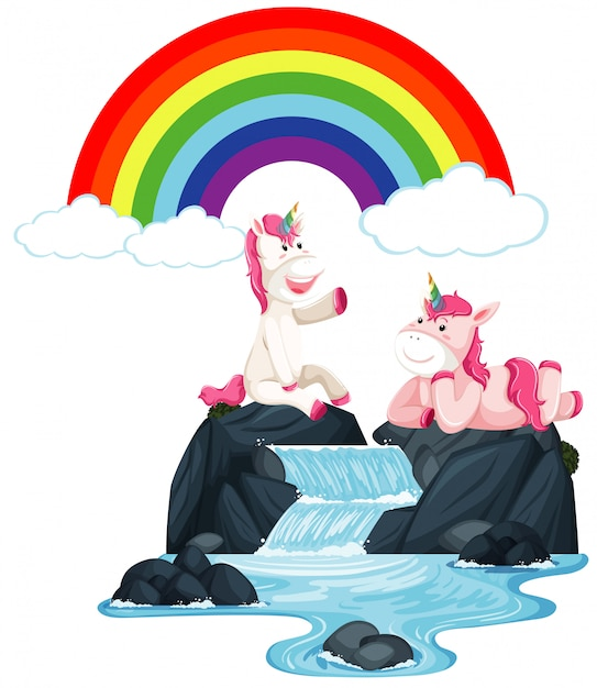 Happy unicorns sitting on the waterfall Free Vector