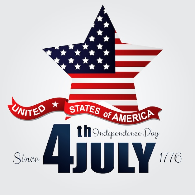 Happy usa independence day 4th july greeting poster Premium Vector