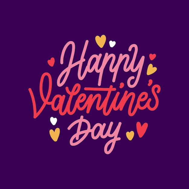 Happy valentiens day lettering style Free Vector