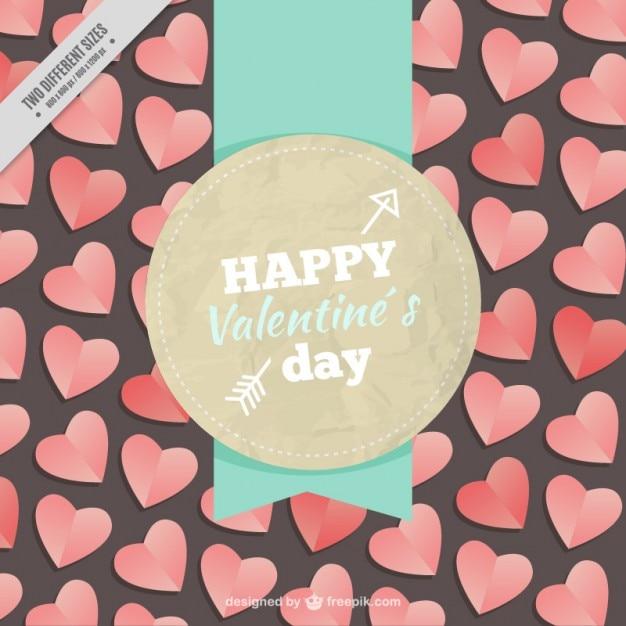 Happy valentine day badge Free Vector