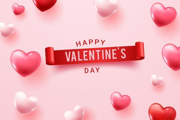 Felice giorno di san valentino congratulazioni con forme di cuore 3d rosso e rosa Vettore gratuito