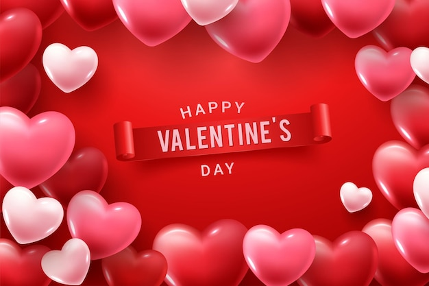 Happy valentine day congratulation with red and pink 3d heart shapes Free Vector