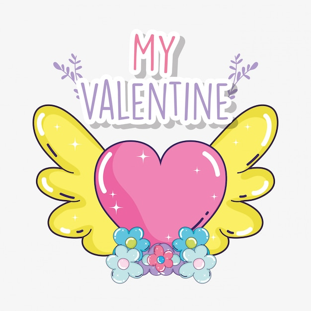 Happy valentine day and heart wings with flowers Premium Vector