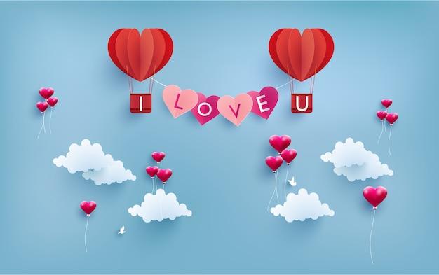 happy valentine day. illustration valentine day with hot air balloon. paper art design Premium Vector