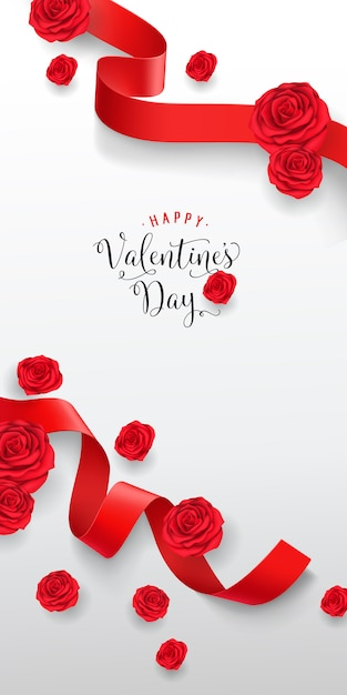 Happy valentine day lettering. creative inscription Free Vector