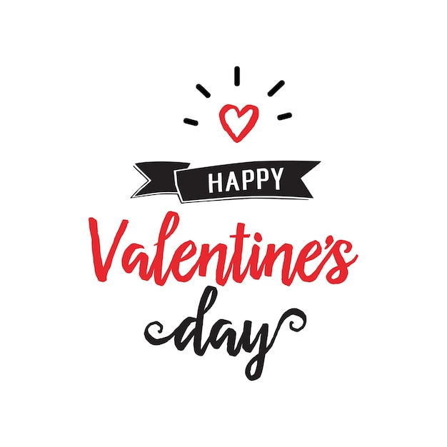 Happy valentine day lettering and heart Free Vector