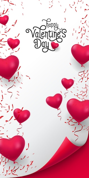 Happy valentine day lettering. inscription with balloons Free Vector