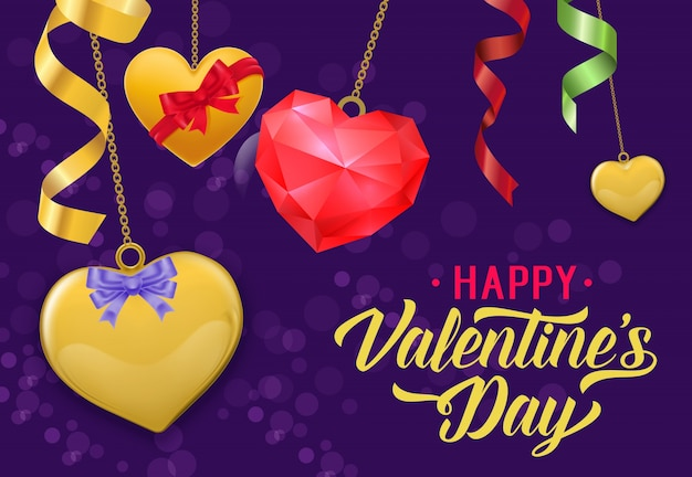 Happy Valentine Day Lettering Streamers Vector Premium Download