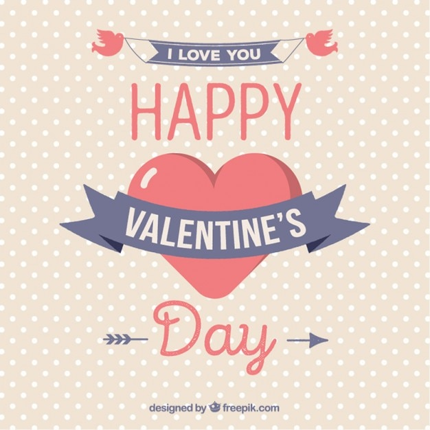 Happy valentine heart dotted background Free Vector