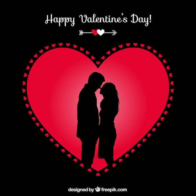 Happy Valentines couple card Vector – Free Happy Valentine Cards