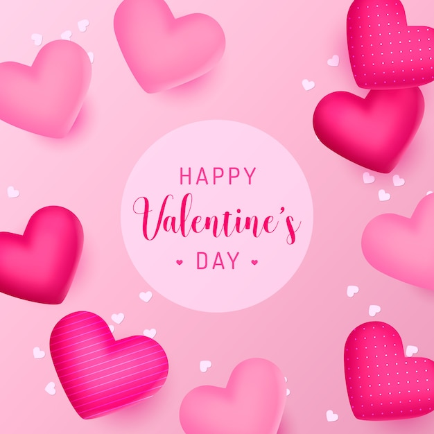 Happy valentine's day background with beautiful realistic hearts Free Vector