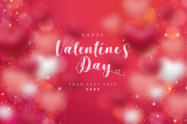 Happy valentine's day background with bokeh hearts Free Vector