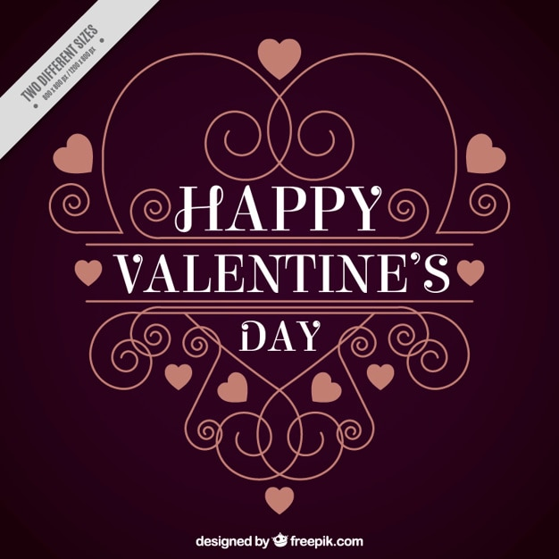 Happy valentine's day background with ornamental decoration Free Vector