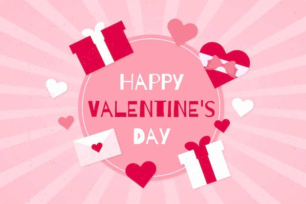 Happy valentine's day background with pink gifts Free Vector