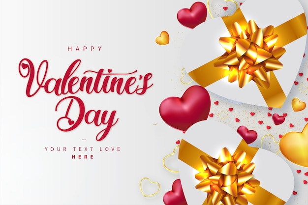 Happy valentine's day background with realistic golden hearts gifts Free Vector