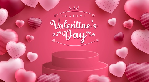 Happy valentine's day background with realistic hearth or love shape and 3d podium Free Vector