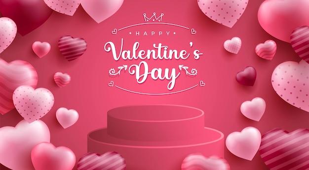 С днем святого валентина фон с реалистичным очагом или формой любви и 3d-подиумом Бесплатные векторы